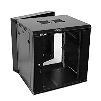 Image of AEONS 12U Professional Wall Mount Server Cabinet Enclosure Double Section Hinged Swing Out 19-Inch Server Network Rack Locking Glass Door 22-Inches Deep Black (Fully Assembled) Network Attached Storage