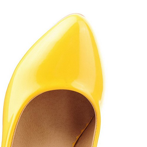 Yellow Pointed Kitten Patent Heels Toe Closed WeiPoot Pumps Shoes Leather Women's 38 tC4qpwv