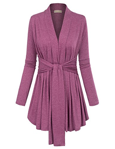 Belted Wrap Sweater - Sexy Flowy Thin Knit Colored Open Belted Cardigan (L,Pink)