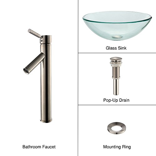 - Clear Glass Vessel Sink and Sheven Faucet Satin Nickel