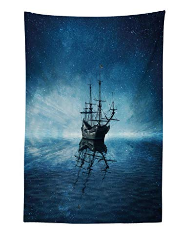 Ambesonne Ocean Tapestry, A Ghost Pirate Ship on Dark Sea with Starry Night Sky and Water Reflection, Fabric Wall Hanging Decor for Bedroom Living Room Dorm, 40 W X 60 L Inches, Dark Blue White Grey ()