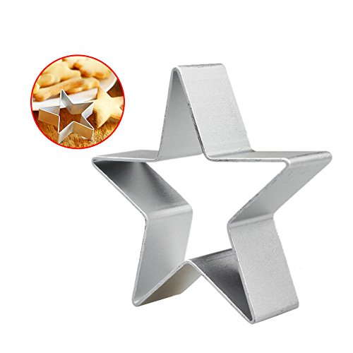 Hunzed Five-Pointed Star Cake Mould DIY Cookies Cartoon Mousse Ring Baking Tool (Silver) ()