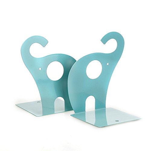 Outop 1pair Cute Elephant Nonskid Bookends Art Bookend (Blue)