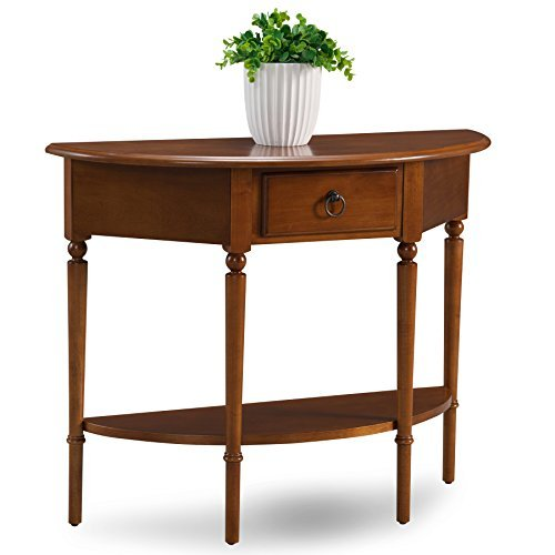 Demilune Table - Leick 20036-PC Coastal Demilune Hall Stand/Sofa Table with Shelf, Pecan