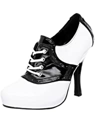 Summitfashions Black and White Saddle Shoe Oxford High Heels with Front Laces and 4.5 Heels