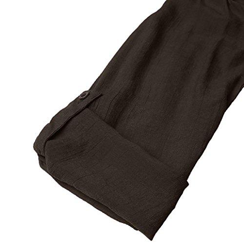Bouton Chemise Unie Blouse Tops lgant Manches Couleur amp;Automne Femmes Asymtrie Kaki SANFASHION Hiver Longues Hem Shirt Mode dBSfXwqCq