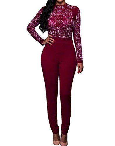 Eiffel Women's Studs Sheer Mesh Bodice Jumpsuit Romper Bodysuit Clubwear Red