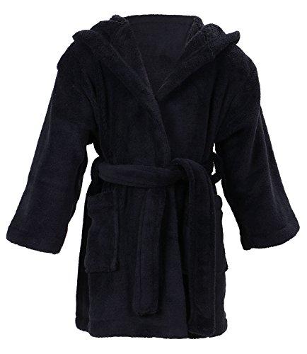 Halconia Boy's Winter Plush Velvet Fleece Bathrobe Robe w/Two Pockets, Black, L ()