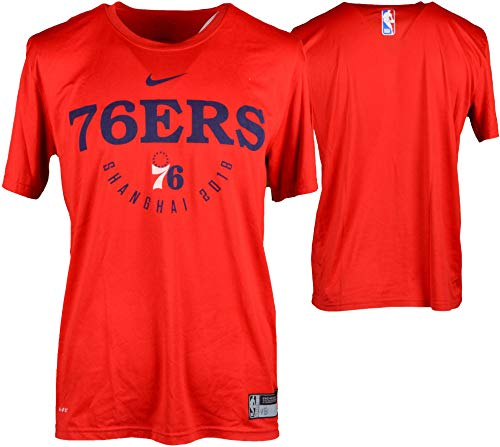 (Anthony Brown Philadelphia 76ers Player-Worn #14 Red Short Sleeve Shirt vs. Dallas Mavericks on October 8, 2018 In Shenzhen, China - Size L - Fanatics Authentic Certified )
