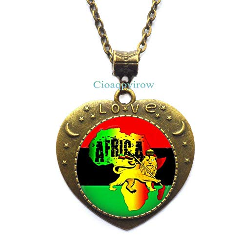 Cioaqpyirow Africa Map Necklace Africa Map Pendant Home Town Love Jewelry Peralized Picture Necklace,HO0E310]()