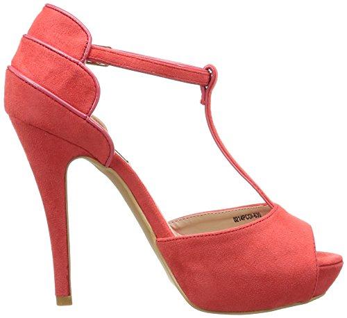 MTNG 52085 - Sandalias de tacón para mujer AFELPADO ROJO