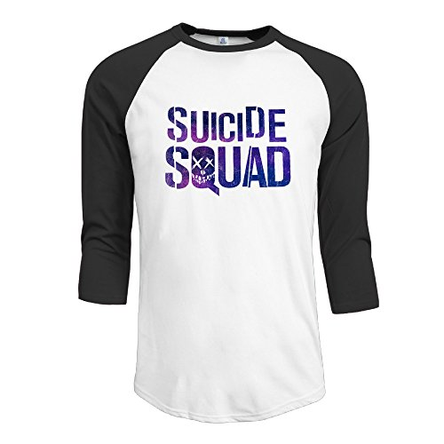 VOLTE Suicide Film Squad Task Comic Force X Character Logo Men's 3/4 Sleeve Shoulder Summer T-shirts Black (Kitchenaid Mixer Bolt compare prices)