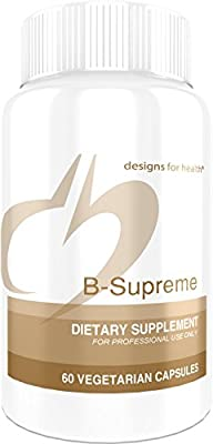 Designs for Health B-Supreme - B Vitamin Complex with B1, B2, B3, B6 + 12, Includes Active Folate, TMG + Choline (60 Capsules)