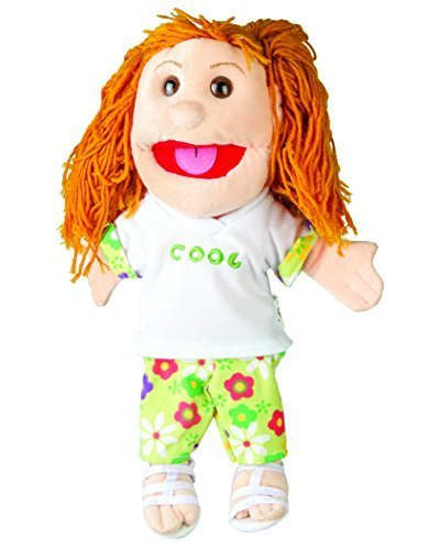 Brunette Haired Girl - Sunny Toys 14 Brunette-Haired Girl In Green Pants Glove Puppet by Globee