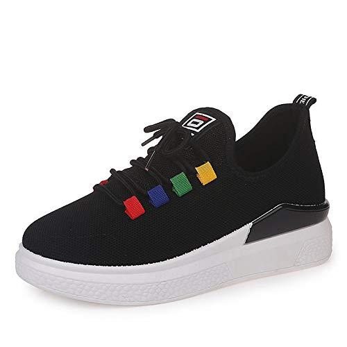 Zapatos Mujer Comfort negro Flat Round Summer Rojo Sneakers Zhznvx Red Toe Mesh Blanco De Heel AwCAqd