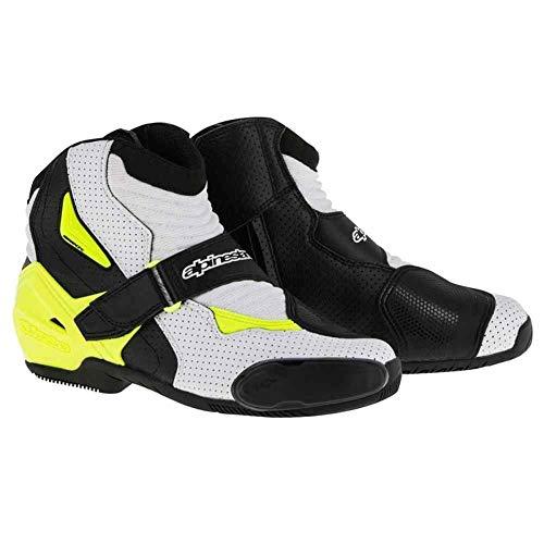 Alpinestars SMX-1 R Vented Boots - 9.5 US / 44 Euro/Black/White/Yellow