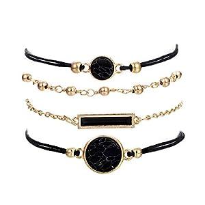 Beaded Bracelets for Women – Adjustable Charm Pendent Stack Bracelets For Women Girl Friendship Gift Rose Quartz…