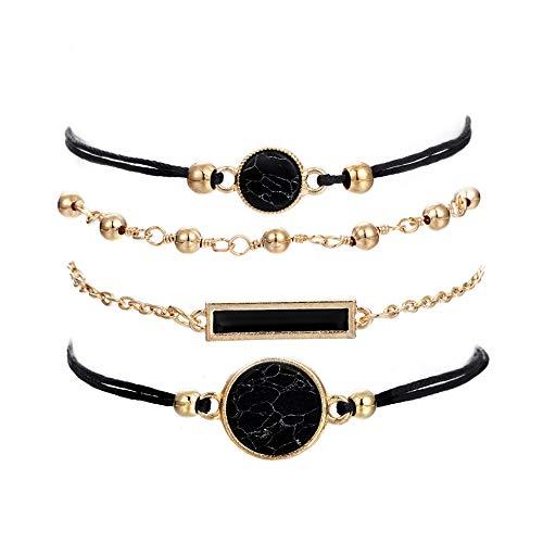 - VONRU Beaded Bracelets for Women - Adjustable Charm Pendent Stack Bracelets for Women Girl Friendship Gift Rose Quartz Bracelet Links with Pearl Gold Plated (Black Stone & Bar)