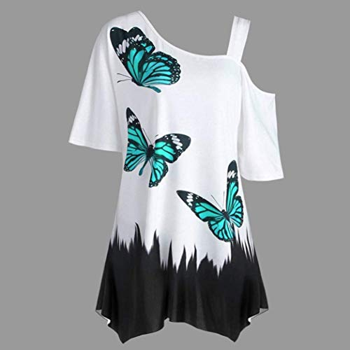 8 Mariposa color Hombro Fuera Señoras Mujeres Tops Rebajas Venta Del Blusa Fuxitoggo Verde Tamaño Camiseta De YqCZx0