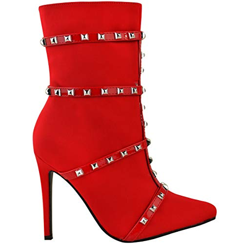 Lycra Pointed by Fashion Boots Stretch Sock Ankle Studded Red Heelberry Size Thirsty Lycra Heel Ladies Toe Womens High wTp6tqRrT