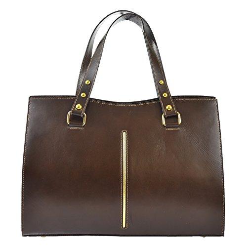 genuine made classic Italy Woman's Dark handbag leather Brown in in D9134 Cm 38x27x12 CTM gYIwqaa