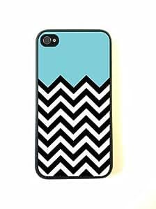 iPhone 4 Case - Silicone Case Protective iPhone 4/4s Case- Aqua Plus Chevron
