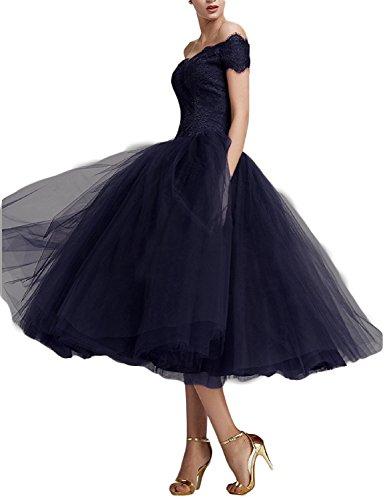Blau Teelänge Elegant Abendkleider Spitze Navy Damen Beyonddress Cocktailkleid Ballkleider xqw8SnA
