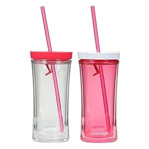Contigo 16oz Shake n' Go Tumblers Watermelon & Clear, 2pack Includes Extra Straws