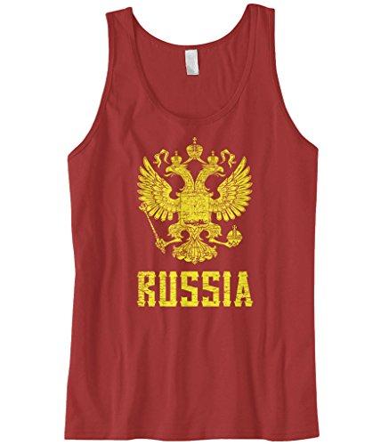 Cybertela Men's Russia Coat Of Arms Tank Top (Red, Medium) ()