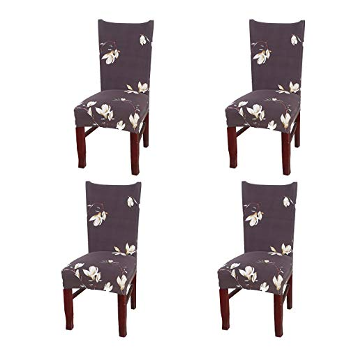 SoulFeel Set of 4 Dining Chair Covers, Stretch Spandex Dining Room Protector Slipcovers (Style 51, Magnolia Brown)