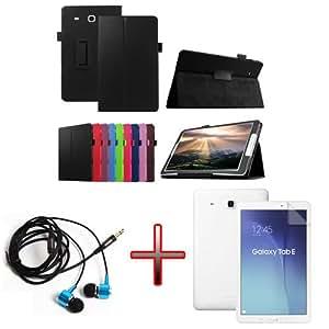 "XMY Colour White Leather Cuero Case Cover cubierta de la caja +Film +Headphone Auricular por 9.6"" Samsung Galaxy Tab E T560 T561 new"