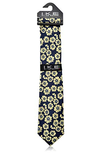 Ike Behar Boys 52'' Navy Blue And Yellow Floral Tie by Ike Behar (Image #2)