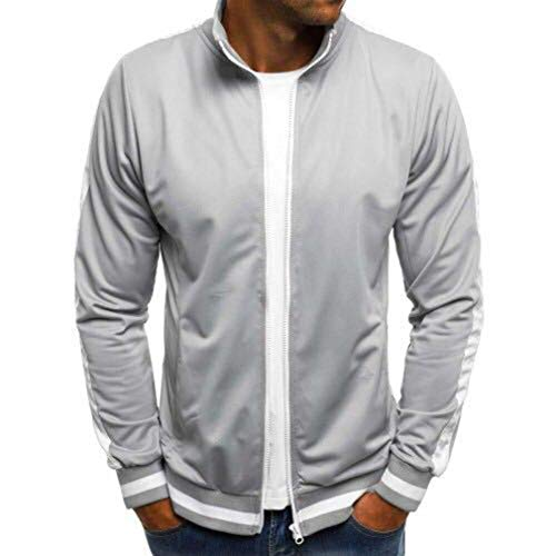 Collar Tops Zipper Pockets Bomber Casual Sleeve Autumn Men Turn Black Jackets Light Outwear Long Navy Jacket Grey Coats Light Fashion with Down Blue Grey Men's Winter wU6FOpq