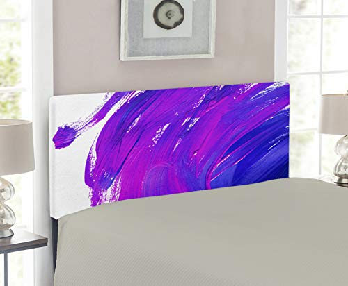 - Lunarable Purple Headboard for Twin Size Bed, Simplistic Brush Strokes of Oil Paint Art Theme Vibrant Color Effects Modern Design, Upholstered Decorative Metal Headboard with Memory Foam, Violet Blue