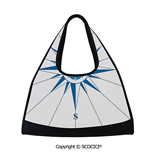 Fitness bag,Royal Blue Windrose with an Anchor in the Middle Discovery on the Sea Sailing on Decorative,Sports and Fitness Essentials(18.5x6.7x20 in) Royal Blue ()
