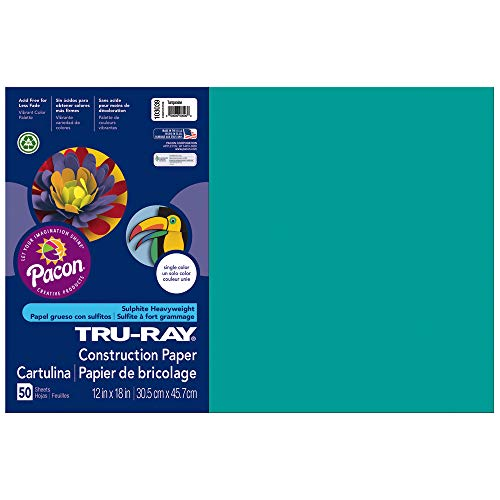 (Tru-Ray Heavyweight Construction Paper, Turquoise, 12