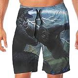 FANGHUABATHRHSQ Godzilla VS King Kong 3D Print Men's Board Beach Shorts Quick Dry Swimwear Pants Boardshort Swim Trunks Bathing Suits