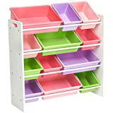 kids storage solutions AmazonBasics Kids Toy Storage Organizer Bins - White/Pastel