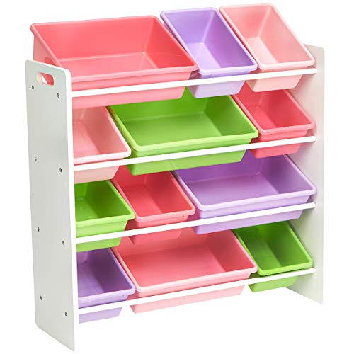 (AmazonBasics Kids Toy Storage Organizer Bins - White/Pastel)