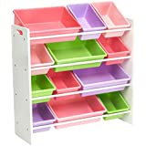 AmazonBasics Kids Toy Storage Organizer Bins - White/Pastel