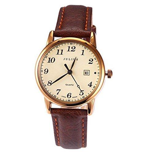 Julius JA-508 Male Gold Tone Arabic Numeral Quartz Analogue Display Fashion Casual Calendar Wrist Watch Men's Business Dress Waterproof Wristwatch
