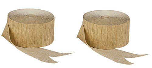 Gold Metallic Crepe Paper Combinations (2 Rolls Gold Metallic Only), 145 FEET Total, Made in (Metallic Gold Streamer)