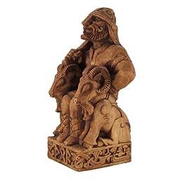 Seated Norse God Thor Statue Wood Finish