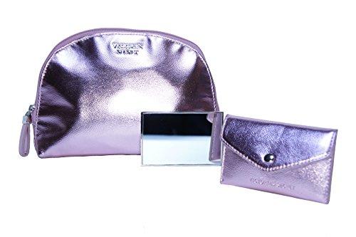 Victorias Secret Cosmetic Bag Set Metallic Pink with Mirror Makeup Bag by Victorias Secret