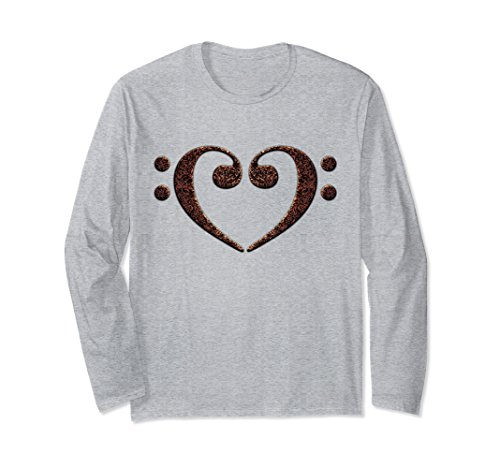Double Bass Clef Heart Music Lover Bassist Long Sleeve T-Shirt