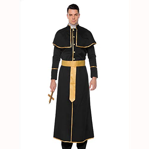 HJG Priest Nun Costume for Women,Sexy Sister Adult Costume,Seductress Religious Vicars Black Fancy Dress Outfit,Man,L