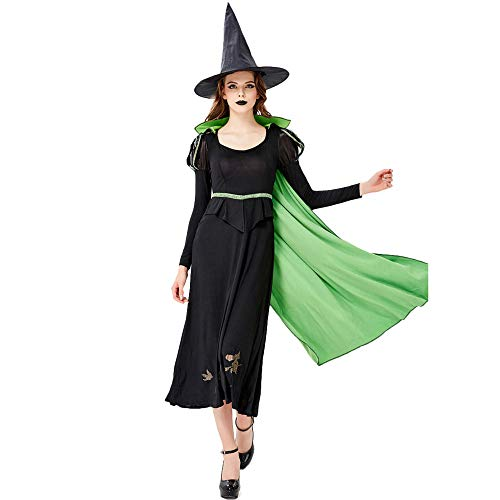 LOKODO Women's Long Skirt The Queen's Cloak Cosplay Halloween Witch Costume Make up Party Dress Cloak Dress Black XL