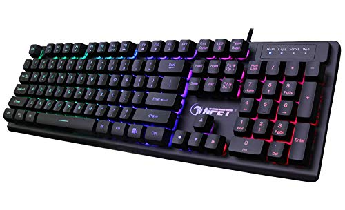 NPET K10 Gaming Keyboard USB Wired Floating Keyboard, Quiet Ergonomic Water-Resistant Mechanical Feeling Keyboard, Ultra-Slim Rainbow LED Backlit Keyboard for Desktop, Computer, PC