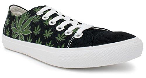 Marijuana Leaf Sneakers   Weed PotBud Kush Canvas Print Tennis Shoe - Women Men Black GDI9pSSmrR
