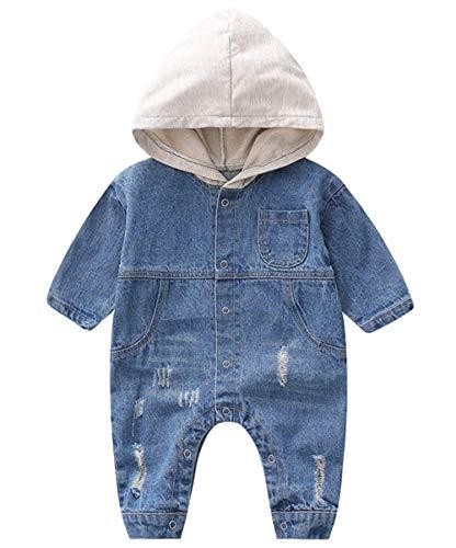 Yihanshangmao Kids Baby Boys Girls Long Sleeve Denim Hoodie Romper Casual Jumpsuit (Blue, 2-3T)